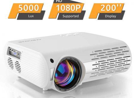 Proiettore Home Cinema 5000 Lux (550 ANSI) CRENOVA XPE660 supporta 1080P Full HD, collegamento con chiavette TV, PS4 Xbox, HDMI, VGA, schede SD, dispositivi AV e USB, proiettore home cinema